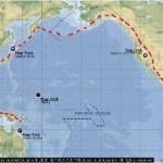 Garis merah putus-putus merupakan Jalur Sirkum Pasifik (sumber: Microsoft Encharta, 2008)