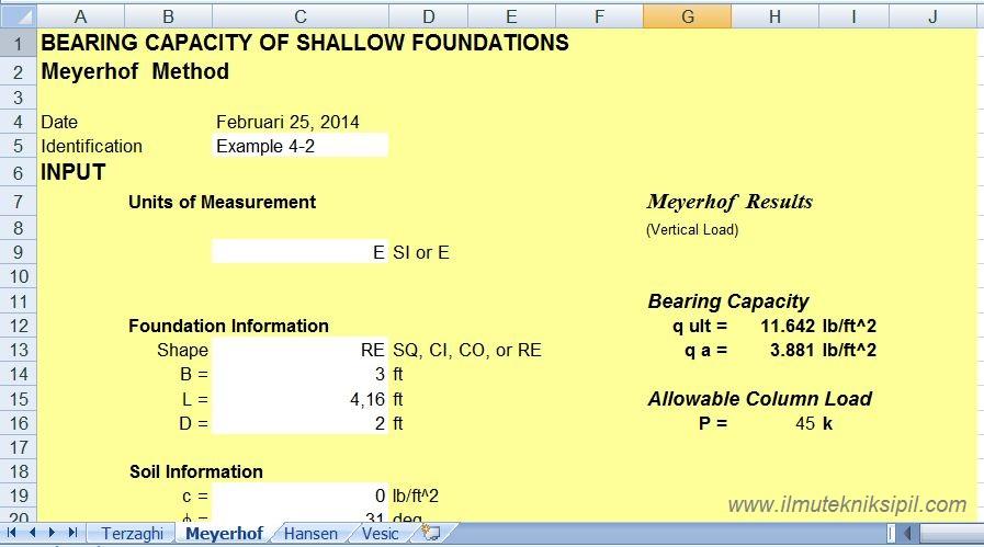 Aplikasi Excel Untuk Analisa Bearing Capacity Pondasi Dangkal